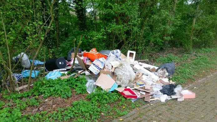 Afvaldumping in de Biesbosch.
