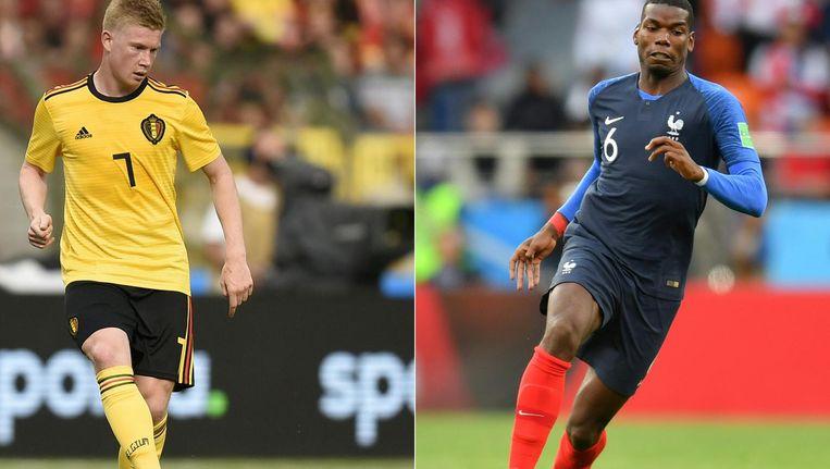 Sterspelers Kevin de Bruyne (België) en Paul Pogba (Frankrijk) Beeld ANP