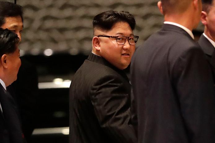 Kim Jong-un tijdens een rondtocht door Singapore