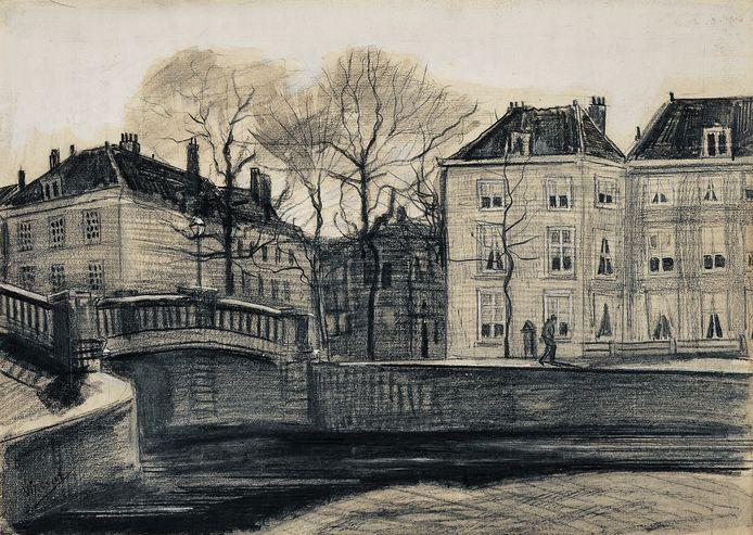 Een brug op de hoek van de Herengracht en Prinsessegracht getekend door Vincent van Gogh.