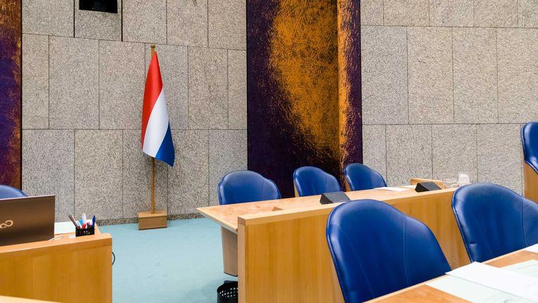 De nieuwe vlag in de Tweede Kamer. Beeld anp