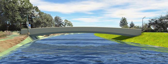 Het ontwerp voor de nieuwe 'witte brug' over de Essche Stroom bij de Spankerstraat in Esch.