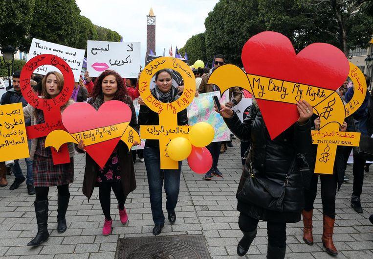 Tunesische vrouwen demonstreren voor gelijke rechten Beeld null