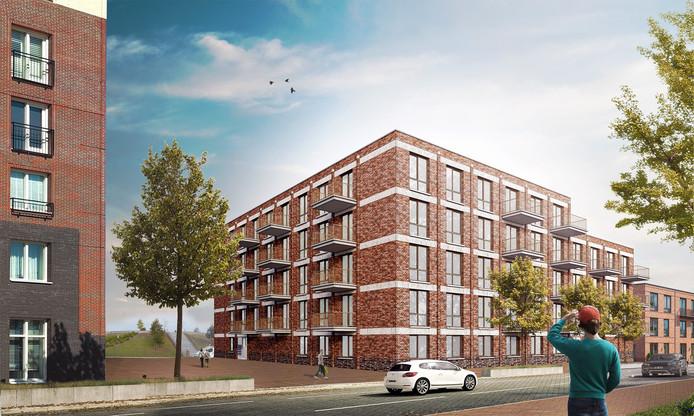 Impressie van het nieuwbouwcomplex op de hoek Suytboulevard - Frontonstraat op Suytkade.