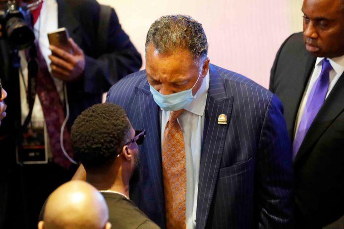 Dominee Jesse Jackson was op 4 juni aanwezig bij de begrafenis van George Floyd, de zwarte Amerikaan die stierf door politiegeweld. (2/2)