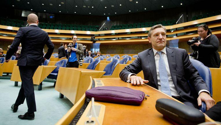 Februari 2014: Diederik Samsom (links) loopt weg na een discussie met Sybrand Buma over het lekken uit de commissie-Stiekem Beeld anp