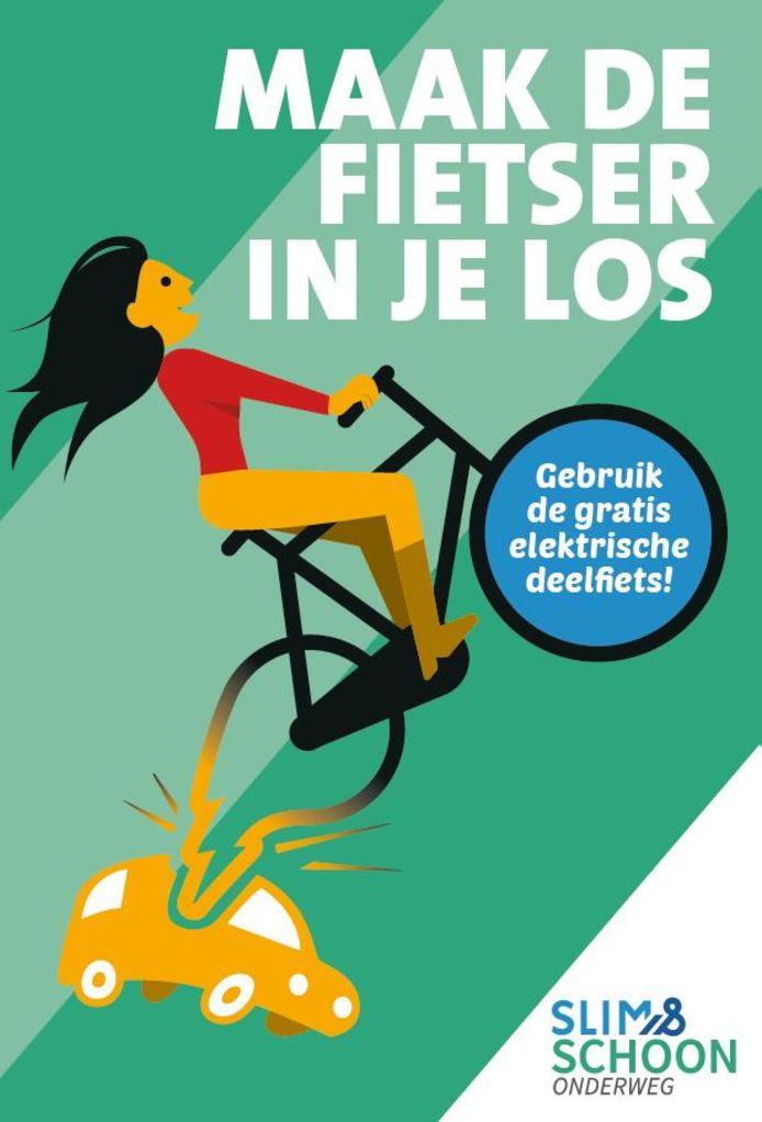 De campagneposter van 'Maak de fietser in je los'.