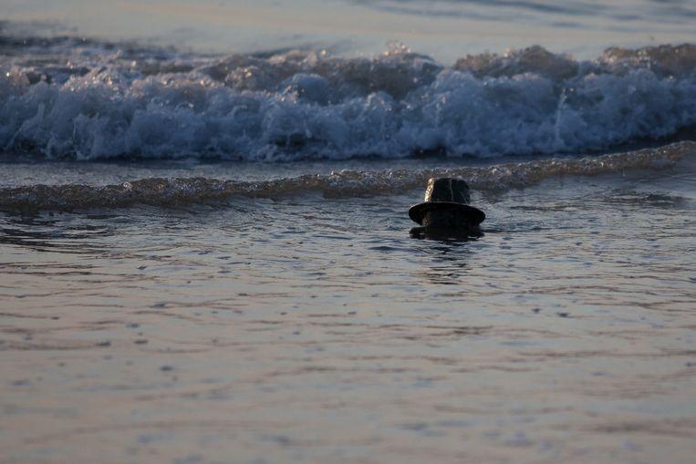 Het beeld stak bijna volledig onder het zand en werd daarom weggehaald.
