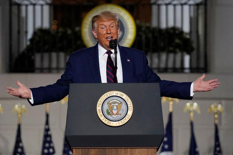 De Amerikaanse president Donald Trump tijdens zijn speech in de tuin van het Witte Huis. Beeld AP