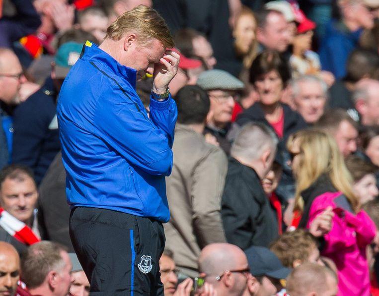 Ronald Koeman won met Everton nooit in de Merseyside-derby. Beeld epa