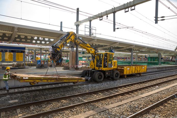 Werkzaamheden aan het station van Zwolle.