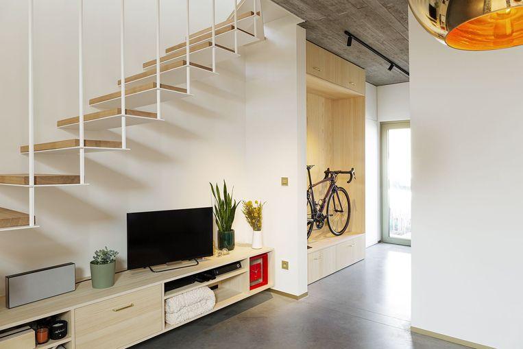 Op 120 m² bewoonbare oppervlakte creëerden Eline en Simon een woning met een bureau, drie slaapkamers en twee badkamers.