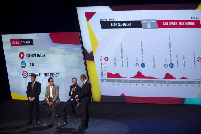 Pedro Delgado, Alberto Contador en Alejandro Valverde bij de presentatie van het routeschema.