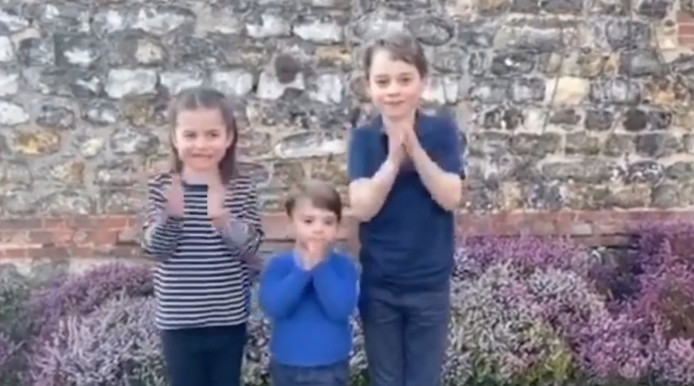 Britse royals George, Charlotte en Louis.