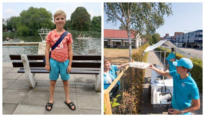 Noud (links) is de 10.000e bezoeker van het Tuindorpbad in Hengelo en de broers Nieuwenhuis maken furore met hun ijskar in Rijssen.