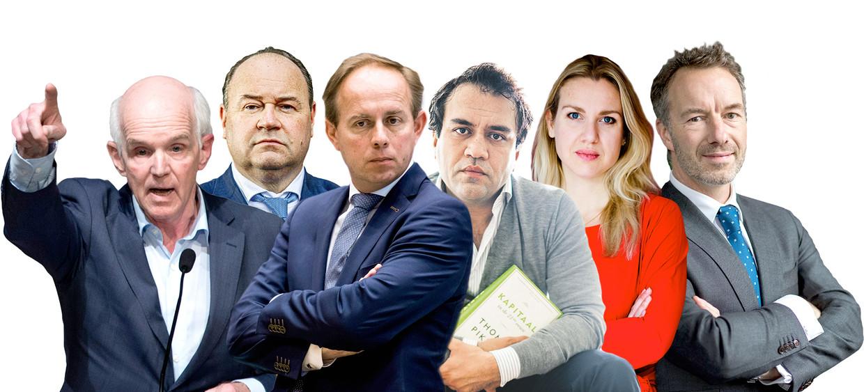 Van links naar rechts: Geert Dales (50Plus), Henk Otten (ex-FvD), Kees van der Staaij (SGP), Zihni Özdil (ex-GroenLinks), Femke Merel van Kooten (ex-PvdD) en Wybren van Haga Beeld ANP, Freek van den Bergh / de Volkskrant, Hollands Hoogte