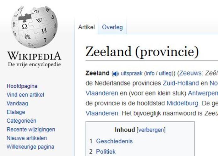 Zeeland-pagina op Wikipedia.