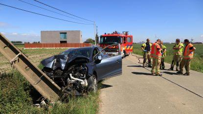 Chauffeur levensgevaarlijk gewond na frontale klap tegen verlichtingspaal