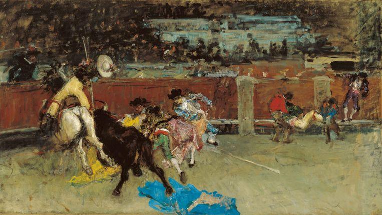 Mariano Fortuny Marsal - Stierengevecht. Gewonde Picador ca. 1867.    Beeld © Colección Carmen Thyssen-Bornemisza