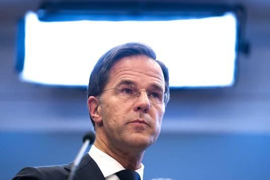 Premier Mark Rutte tijdens de persconferentie van dinsdagavond.