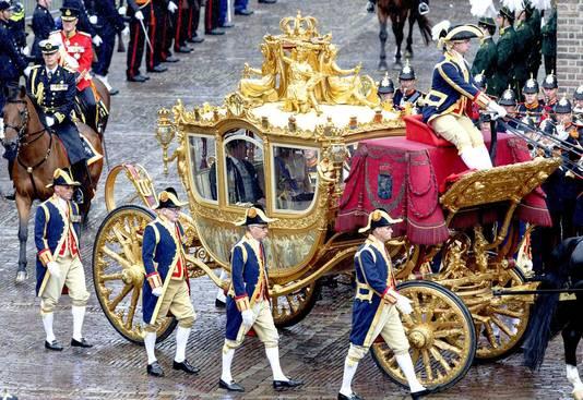 De Gouden Koets op weg naar de Ridderzaal, Prinsjesdag 2015