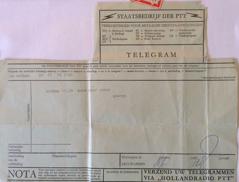Het telegram dat hij tijdens de Elfstedentocht van 1963 uit Workum naar Mia stuurde. Beeld Dana Ploeger