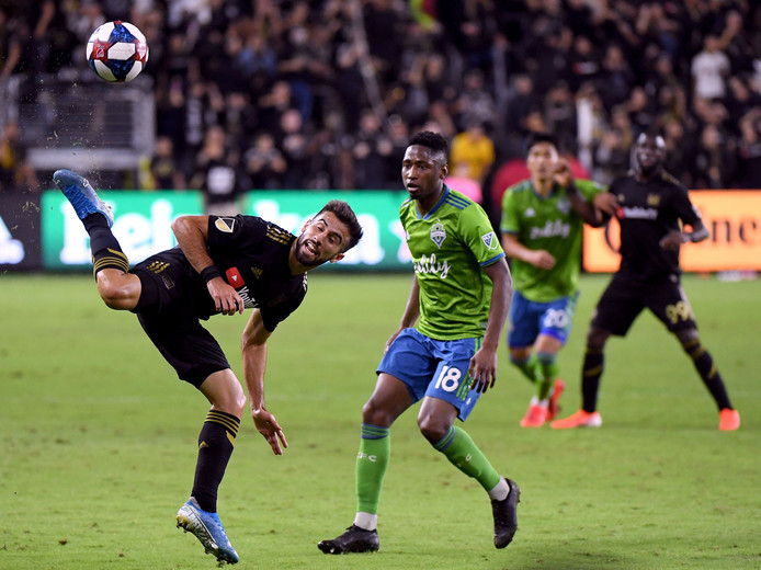 Kelvin Leerdam in actie tegen LAFC afgelopen woensdag. Seattle Sounders won in Los Angeles verrassend met 1-3.