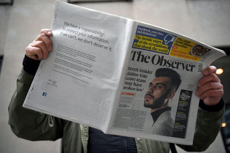 In een paginagrote advertentie in Britse kranten excuseerde Facebook zich voor het lek.
