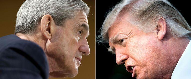 Speciaal aanklager Robert Mueller en president Donald Trump. Beeld AFP