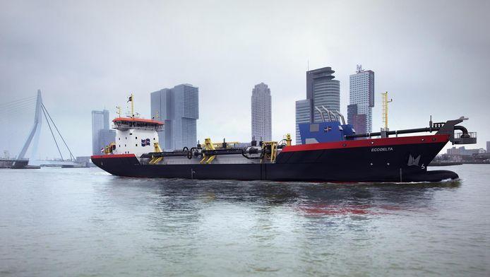 Een artist impression van baggerschip Ecodelta.