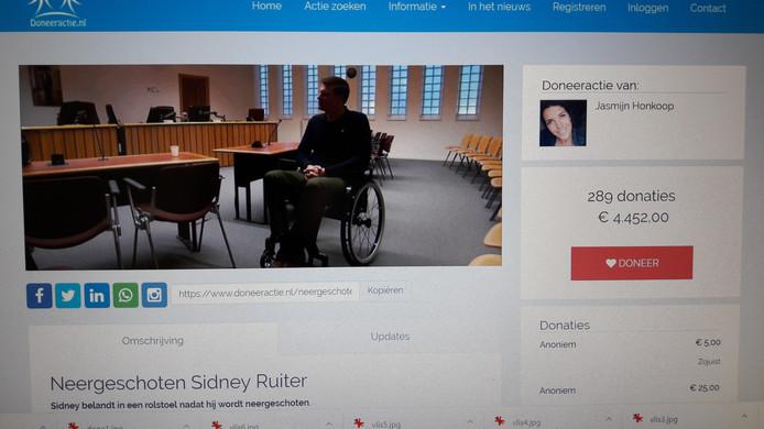De website van de doneeractie voor de neergeschoten Groninger