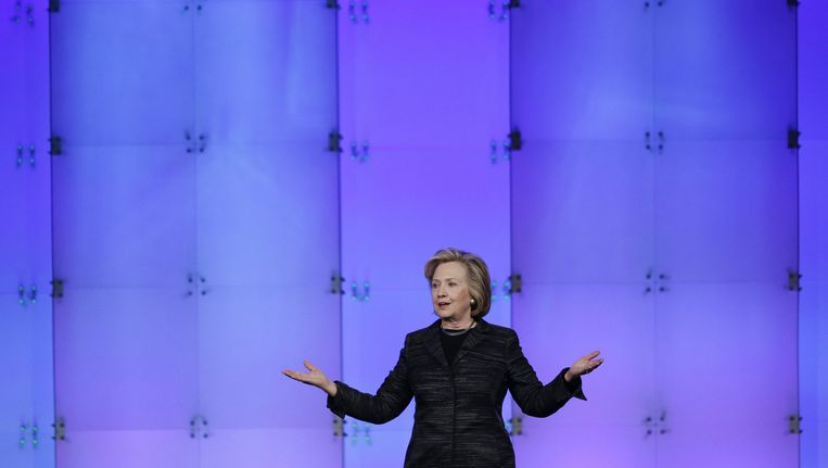 Hilary Rodham Clinton tijdens een congres in Silicon Valley. Beeld ap