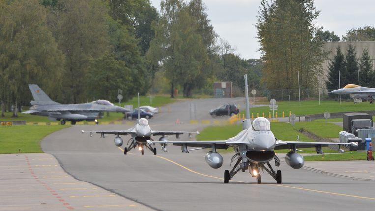 F-16's op de luchtmachtbasis van Florennes, provincie Namen. Foto uit 2014.