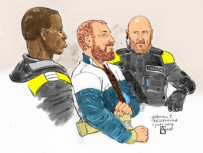 Rechtbanktekening van Gökmen Tanis tijdens de eerste zitting bij de rechtbank