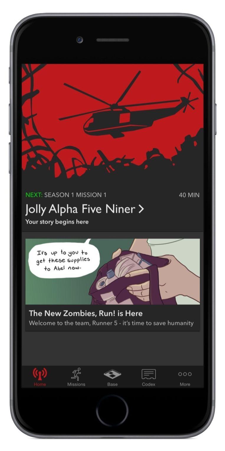De app Zombies, Run! is een fitnessgame waarin hardlopers door opdrachten uit te voeren uit handen van (virtuele) zombies moeten blijven. Beeld Six To Run