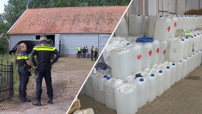 De schuur in Oud-Vossemeer met de aangetroffen chemicaliën.