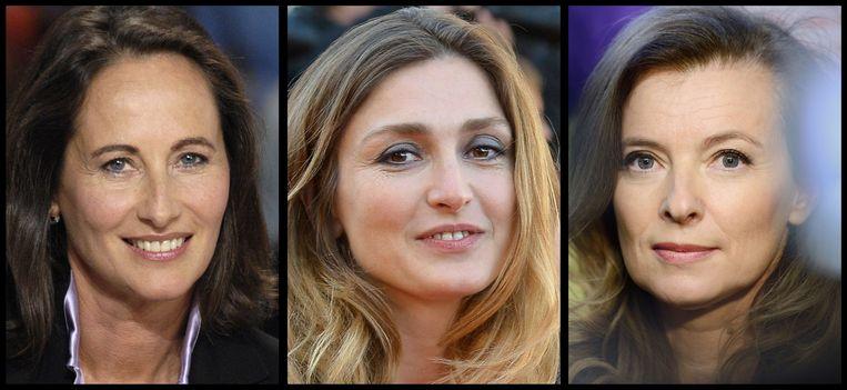 De vrouwen met wie Hollande de afgelopen jaren een relatie had. Van links naar rechts politica Segolene Royal, actrice Julie Gayet en journaliste Valerie Trierweiler. Beeld AFP