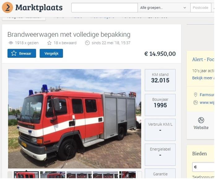 Brandweerwagen te koop!