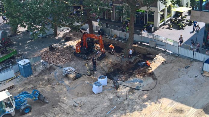 Voor de platanen op het Vredenburgplein wordt een nieuw bewateringssysteem aangebracht.