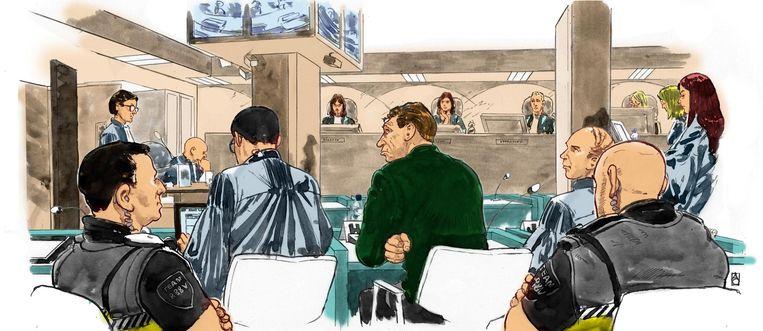 Een tekening van Willem Holleeder in de rechtszaal, op een zittingsdag eerder deze maand. Beeld ANP