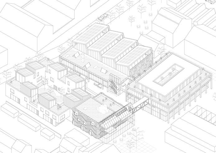 Het schetsplan voor Made by NRE met linksboven het parkeergebouw, rechtsboven het werkgebouw, rechtsonder De Body Building en links het Ambachtsdorp. Met rechtsboven het gebouw van Fifth Jazzclub, linksboven de nieuwbouw in de buurt en rechtsonder de KAS-woningen en het pleintje.