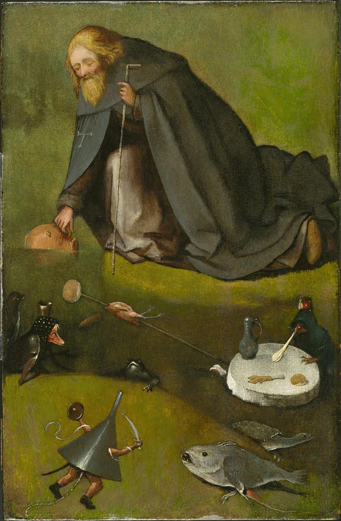'De verzoeking van de heilige Antonius'. Van Jeroen Bosch (c. 1450-1516). Ontdekt in depot van het Nelson Atkins Museum of Art, Kansas. Ontdekt na tip van amateuronderzoeker. Ontdekking naar buiten gebracht op 1 februari 2016.