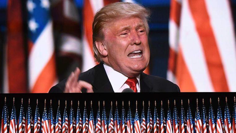 Trump op de laatste dag van de Republikeinse Conventie. Beeld null