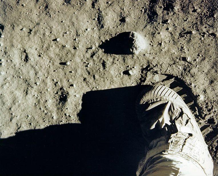Het moment dat Buzz Aldrin, als tweede man, voet op de maan zette (archiefbeeld ter illustratie).