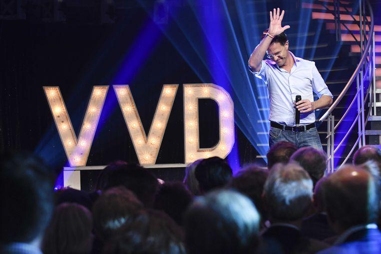 Premier en partijleider Mark Rutte Minister tijdens het jaarlijkse VVD-festival in Aalsmeer. Beeld ANP