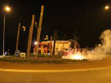 Brand op rotonde in Wijchen