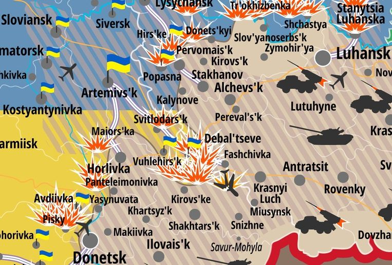 Kaartje van het strijdgebied rond de 'ketel' van Debaltseve dat het Oekraïense ministerie van defensie vandaag verspreidde. Beeld NSDC