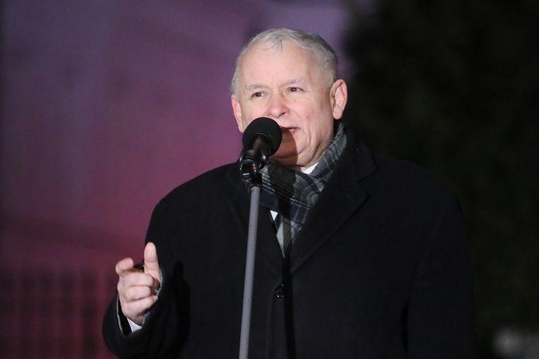 PiS-partijleider Jaroslaw Kaczynski. Beeld epa