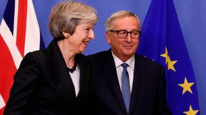 May en Juncker proberen brexitplooien glad te strijken in Brussel