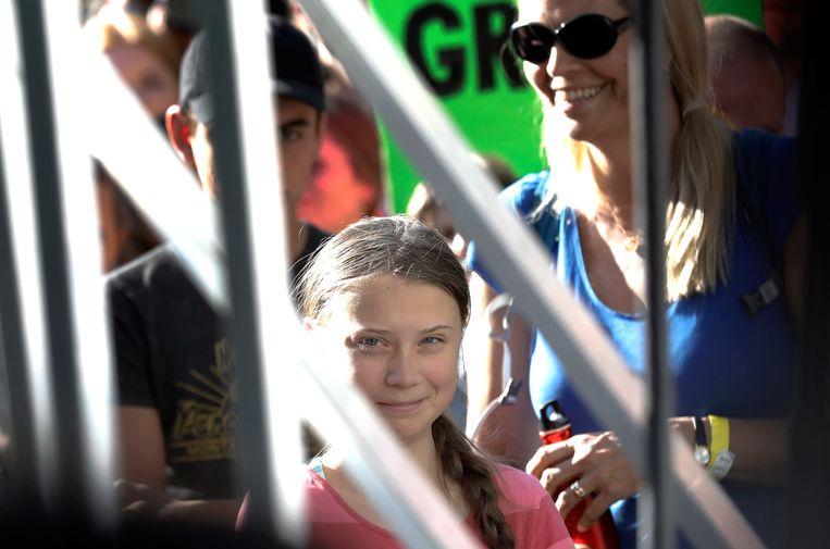 De 16-jarige klimaatactivist Greta Thunberg in New York.  Beeld EPA
